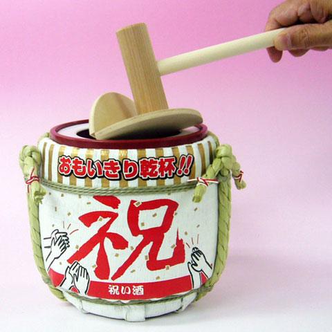 国産 木製卓上ミニ鏡開きセット 菰樽(こもだる)祝いバージョン(直径 ...